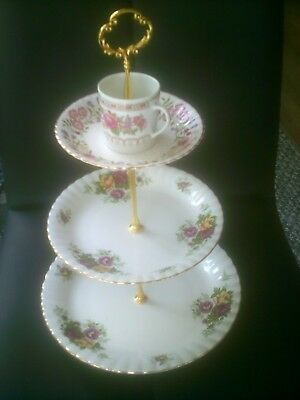 unusual  3 tier chodziez + windsor china cake stand