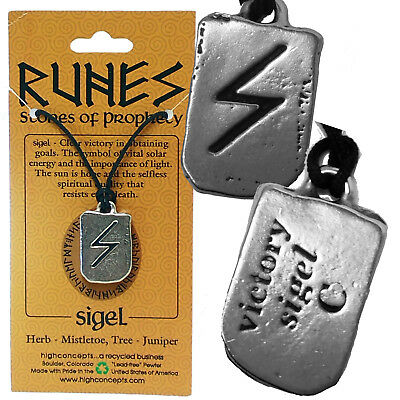 "VIKING NORSE PAGAN RUNE ""SIGEL"" OBTAINING GOALS  2-sided Amulet Pendant +Cord"