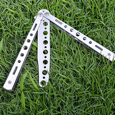Silver Metal Butterfly Balisong Trainer Training Practice Knife Dull Tool Deft