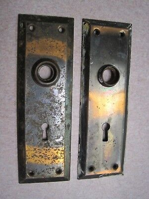 2 Antique Vintage Copper Flash Door Knob Key Hole Lock Plates Used # 2