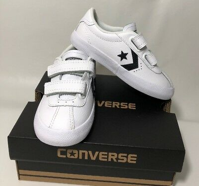 5943d2d1c817c5 CONVERSE BREAKPOINT 2V OX Black White Leather Infant Toddler Boy ...