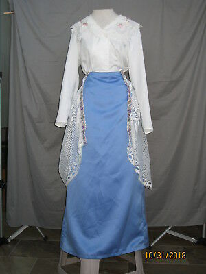 Victorian Dress Edwardian Civil War Style White & Blue w Over Skirt Bustle