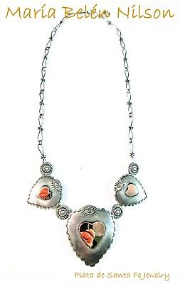 Maria Belen Sacred Heart with Copper Heart~Hand Made Chain~Oxidized 925 Necklace