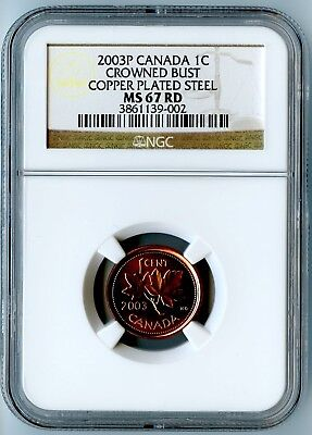 2003P Canada Ngc Ms67 Rd Crowned Bust Copper Plated Steel One Cent 1C! Top Pop!