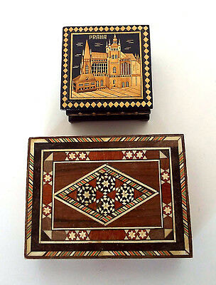 INLAID WOOD BOXES Hand Crafted Praha Prague Cathedral Vintage Estate Lot