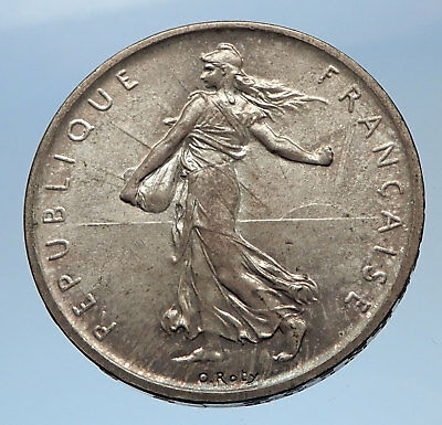 1960 FRANCE French LARGE Silver 5 Francs Coin w La Semeuse SOWER WOMAN i69620