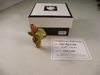Adam Binder Editions - GREEN FROG ON CANE ABE NETSUKE'S #'D 232/250
