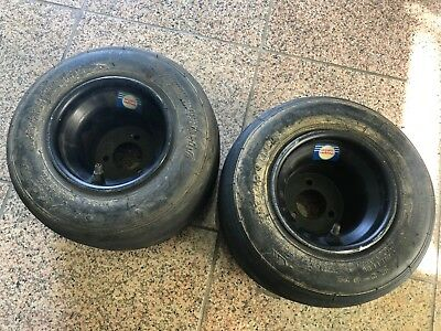 Pair Douglas Wheel Racing Go Kart 5x132mm Wheels w/ Bridgstone 4.5/10.0-5 Tires