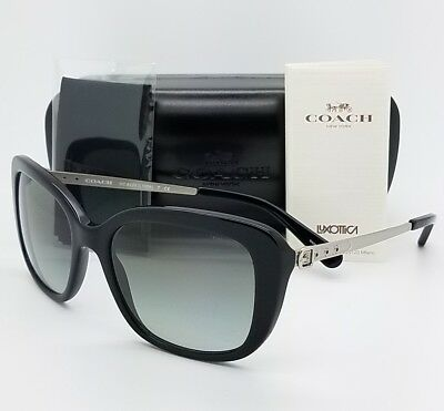 d1d06718b5245 New Coach sunglasses HC8229 550111 Black Grey Gradient Buckle 8229 square  womens