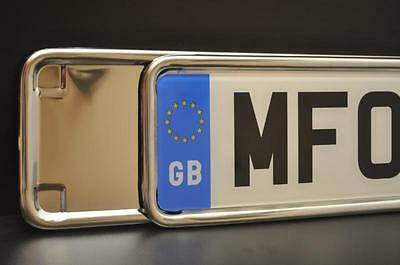 1 x Chrome Stainless Steel Number Plate Frame Holder Surround - FOR ANY CAR