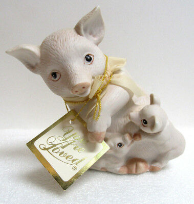 "Pig with Piglets ""You are Loved"" Mother and Babies Porcelain Figurine"