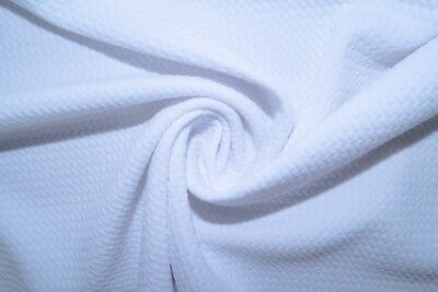 1b0f6c8631b White #38 Bullet Double Knit Stretch Polyester Lycra Spandex Fabric BTY