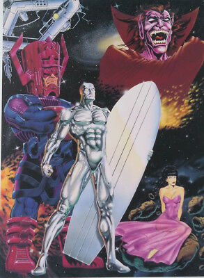 Marvel Vintage Lithograph Silver Surfer Galactus Mephisto Signed Ron Lim Coa