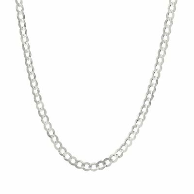 """14K White Gold Mens Womens 5mm Solid Curb Cuban Chain Necklace Lobster Clasp 22"""""""