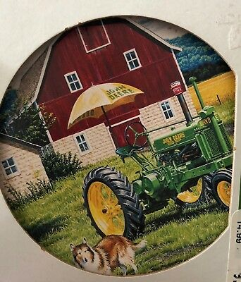 NEW! Grandpa Lloyds John Deere Tractor, Barn, Farm Absorbent Stone Coaster Set 4