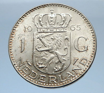 1965 Netherlands Kingdom Queen JULIANA 1 Gulden Authentic Silver Coin i69483