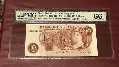 Great Britain Bank Of England  10 Shillings 1966 - 1970 Pmg 66 Gem Unc Pick 373