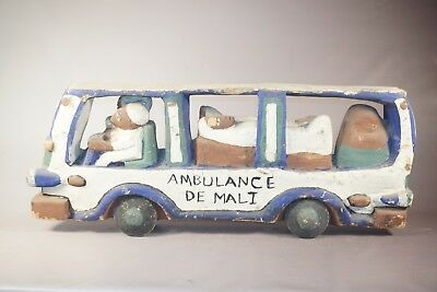 """Hand Carved Ambulance Figure/Statue from Mali - African Art - 17"""""""
