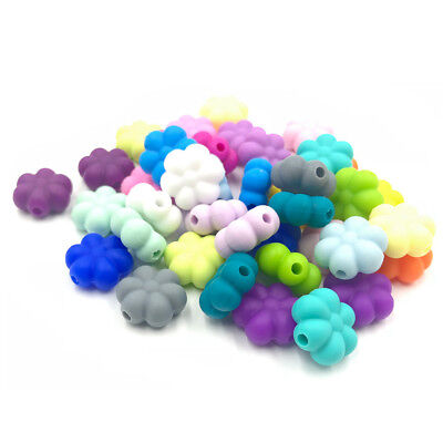 BPA Free Silicone Teething Beads Flower Beads For Baby Teether Necklace Making