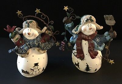 (2) Home Interiors 56038 Winter Snow Pals Year 2003 Pair of Snowman Figures 7""