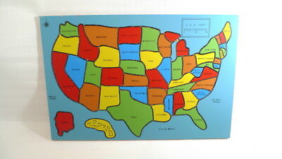 Vintage USA State Map Wood Puzzle Inlaid MSR Imports Colorful