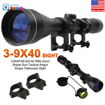 3-9x40 Mil Dot Air Rifle Zoom Sniper Gun Tactical Airgun Scope Telescopic Sight