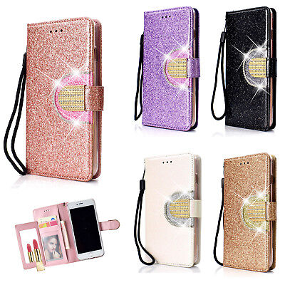 For Sony Xperia XA1 Womens Bling Diamond Leather Magnetic Flip Wallet Case Cover