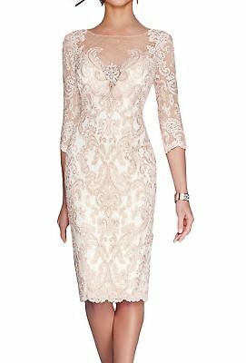 Navy Pink Wedding Mother Of The Bride Short Dresses US 6 Lace 2 Pcs Knee Length