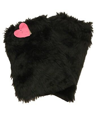 Betsie Johnson Furry Leg Warmers Black One Size