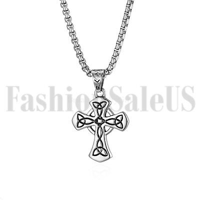 Men's Stainless Steel Celtic Cross Irish Wales Knot Pendant Necklace Chain Gift