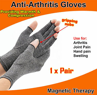 Magnetic Arthritis Gloves Soft Compression Hand Therapy Support Sore Finger