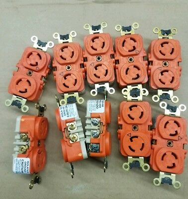 10 Hubbell Twist-Lock Isolated Ground L5-15R  Duplex Receptacle