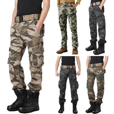 Men's Combat Cargo ARMY Pants Military Camouflage Camo Tactical Work Trousers