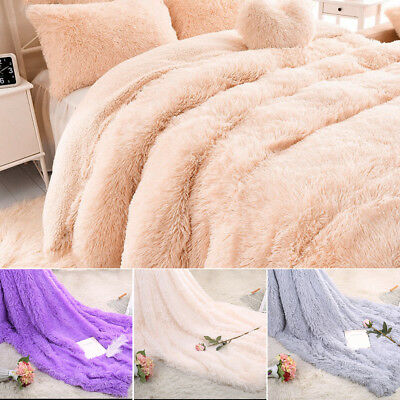 160x200cm Long Pile Throw Blanket Super Soft Solid Faux Fur  Warm Shaggy Cover