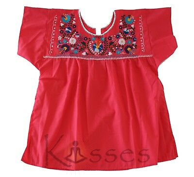 Mexican Peasant Blouse Hand Embroidered Top Colors Vintage Style Tunic - Red