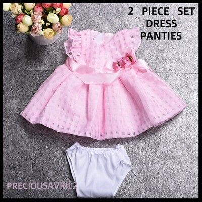 Baby born doll clothes fits 43 cm American Girl fully lined pink dress & undies.