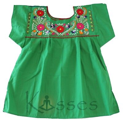 Mexican Peasant Blouse Hand Embroidered Top Colors Vintage Style Tunic Green