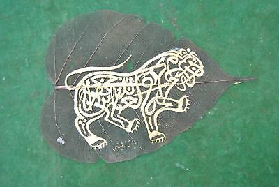 Ottoman indian natural Leaf Islamic quran khate Lion figure Calligraphic gold