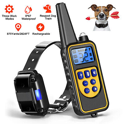 Dog Shock Training Collar W/ Remote Waterproof Electric 875 Yard For Large Pet