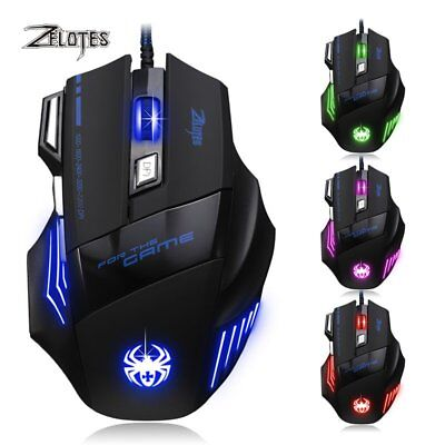 ZELOTES Gaming Maus 7200 DPI Optisch Kabel Gewichte 7 Tasten USB Gamer Mouse