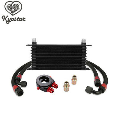 Black Universal 10 Row AN10 Engine Transmission Oil Cooler + Filter Adapter Kit