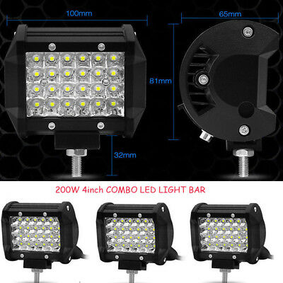 4Inch Car LED Light Bar Spot Flood Light Work Offroad SUV 200W Driving Fog Lamp