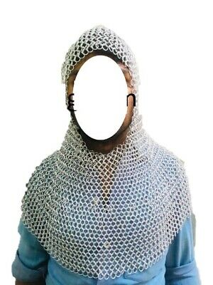 10mm Butted Aluminum Chain Mail Coif / Chainmail Hood Medieval Armor Costume