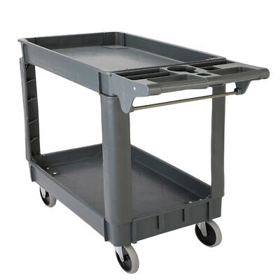 550 lb Load Plastic Utility Service Cart 2 Shelves with 360°Swiveling Wheels