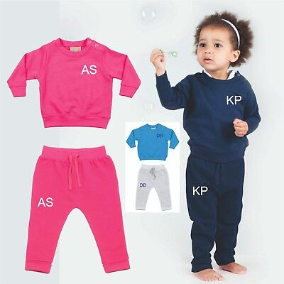 Personalised Baby First Tracksuit Sweatshirt Pants Kids Toddler Initials Gift