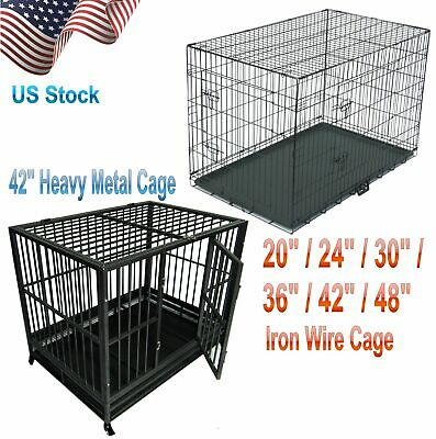 "20/24/30/36/42/48"" Pet Kennel Cat Dog Folding Cage Crate Wire Metal Steel 2 Door"