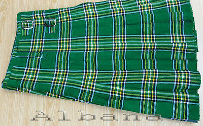 TRADITIONAL IRISH TARTAN Kilt With 3 Leather Belts & Metal