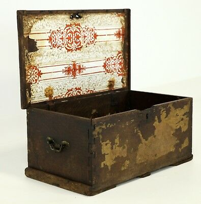 Antique Oak Chest Blanket Box Iron Handles FREE Nationwide Delivery