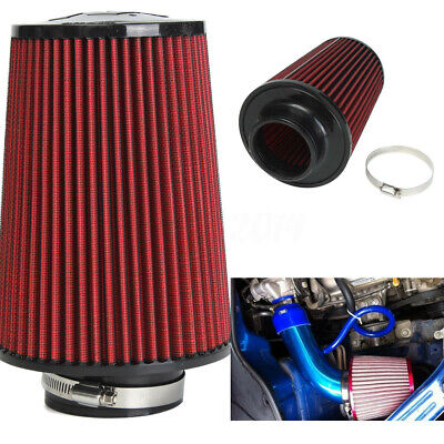 "3"" High Flow Car Trunk Racing Cold Air Intake Filter Tapered Cone Cleaner Red"