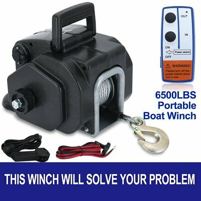 6500LBS Remote Electric Boat Winch Detachable 10m Steel Cable 12V Portable